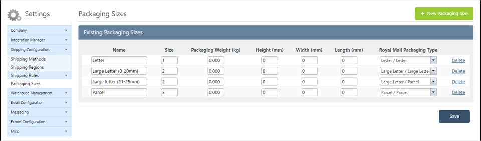 New Packaging Sizes for Direct Royal Mail integration on